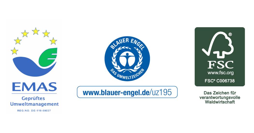 Blauer Engel RAL UZ 195, EMAS, FSC