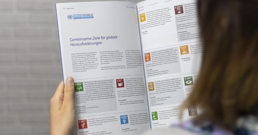 Innenteil des Nachhaltigkeitsberichtes der Fraport AG.