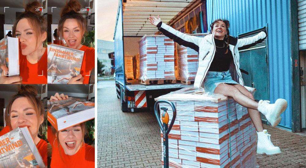 Yvonne Pferrer holt ihre Bücher bei der Druckstudiogruppe in Düsseldorf ab.